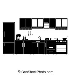 kitchen with furniture black illustration