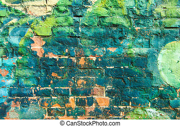 Colorful Graffiti Wall - Colorful Weathered and messy Brick...
