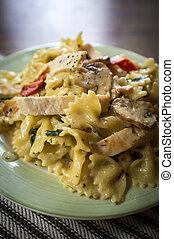 Bowtie Chicken Alfredo - Chicken farfalle alfredo with...