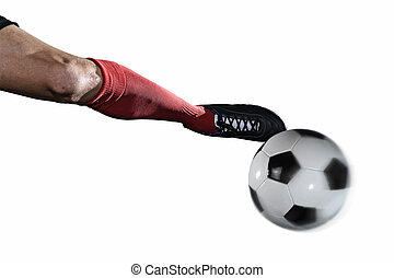 close up leg and soccer shoe of football player kick ball isolated on white background