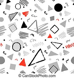 Geometric 1980s styled pattern - Red, gray and white...