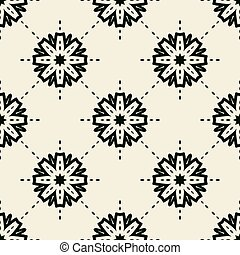 Stylized flowers and dotted lines seamless wallpaper tile
