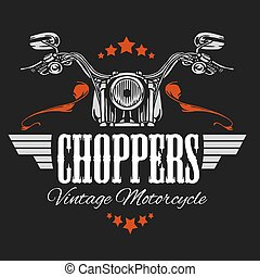 Vintage Motorcycle label, Retro chopper bike emblem