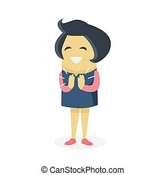 Happy Cartoon Woman Design - Happy cartoon woman design flat...