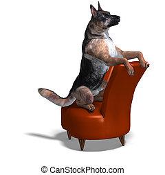 alemão, pastor, cão, 3D, fazendo, Cortando,...