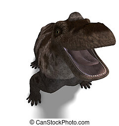 Dinosaur Keratocephalus. 3D rendering with clipping path and shadow over white