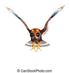 fantasy owl with rainbow colors 3D rendering with clipping...