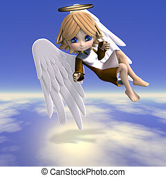 cute cartoon angel with wings and halo. 3D rendering with clipping path