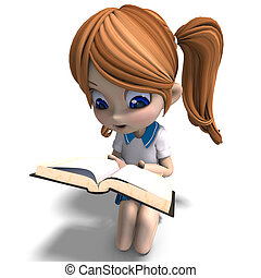 cute little cartoon school girl reads a book 3D rendering...