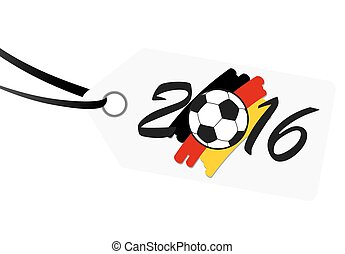 hangtag with lettering 2016 with german national colors -...
