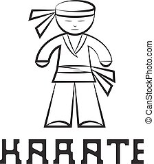cartoon karate young man vector design illustration