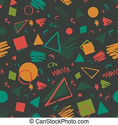 Geometric 1980s styled pattern - Dark green seamless...