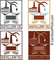 distillery company with copper whiskey still and martini...