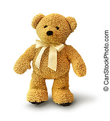 Walking teddy bear - Cute teddy bear walking on white...