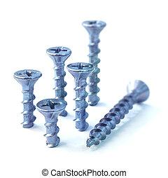 Steel screws - Six steel screws on white background