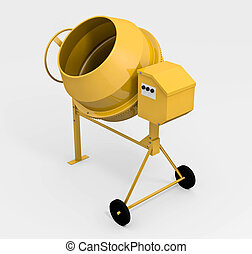 Concrete mixer - Yellow concrete mixer; 3D rendered image