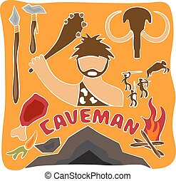 vector poster of paleo food and caveman theme