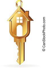 House key gold logo vector image