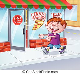 Kid In Trance Following Pizza Smell - Cartoon illustration...