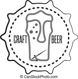 craft beer concept label with needle and thread