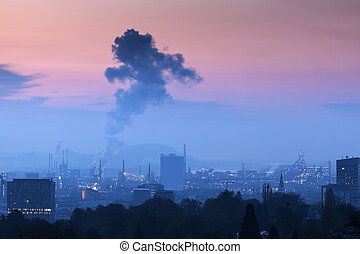 Industrial Linz at sunrise