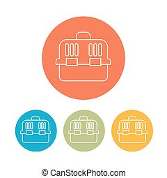 Carry bag icons set on color rings. vector illustration