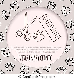 Scissors, comb for cutting and grooming pets
