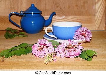 Medicinal plants - pink acacia flowers Robinia pseudoacacia...