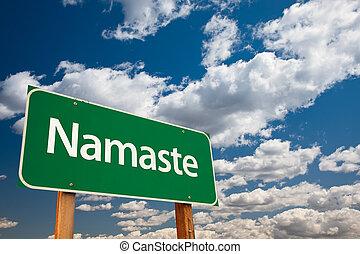 Namaste, verde, camino, señal