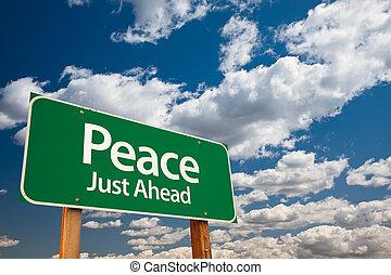paz, verde, estrada, sinal