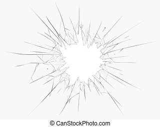Broken glass, dark background. Vector illustration