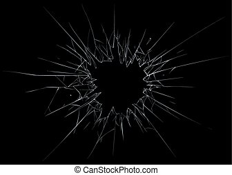 Broken glass. black background