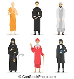 Religion ministers - Isolated religion ministers. Monks and...