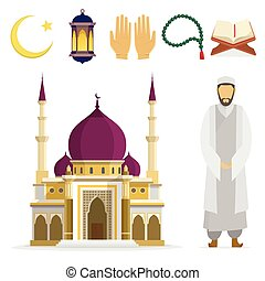Islamic set - Set of Islamic religious symbols and ritual...