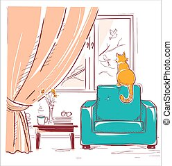 Red cat watching birds near the window.Interior room with modern armchair