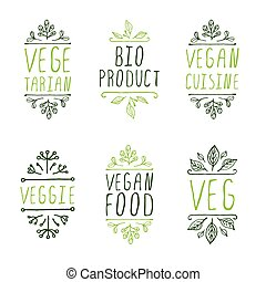 Hand-sketched typographic elements Vegan product labels -...