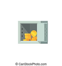 Open safe box with money vector illustration