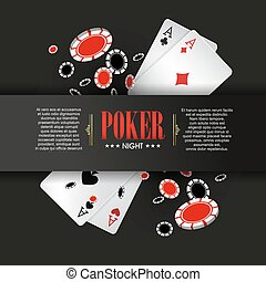 Casino Poker poster or banner background or flyer template.