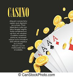 Casino Poker poster or banner background or flyer template....