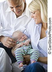 sonido, brazos, dormido, tenencia, bebé, padres, amoroso