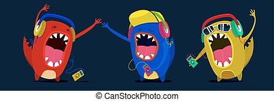 cute monster listen to music graphic. Set musicians or fan