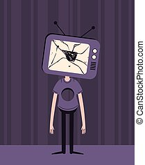 Sad TV Head Boy with Hole in Chest - Vector illustration of...