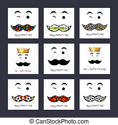 Happy Fathers day background or card Mustache, winking, flat...