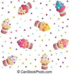 pattern with a cute cupcakes - Seamless pattern with a cute...