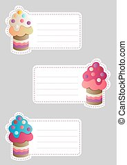 tags with cute cupcakes - Set of three cute blank card with...