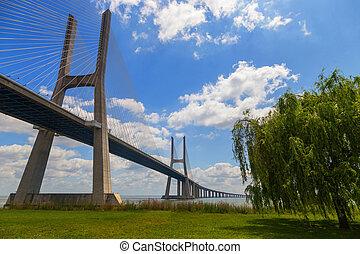 bridge the Vasco da Gama on river Tejo in european city...