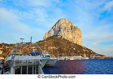 Calpe Penon de Ifach rock in Mediterranean with marina at...