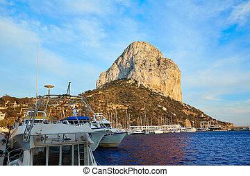 Calpe Penon de Ifach rock in Mediterranean with marina at...