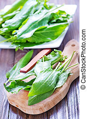 fresh sorrel on board and on a table