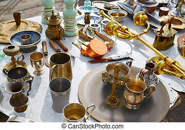 Antiques market outdoor in Spain - Antiques traditional...